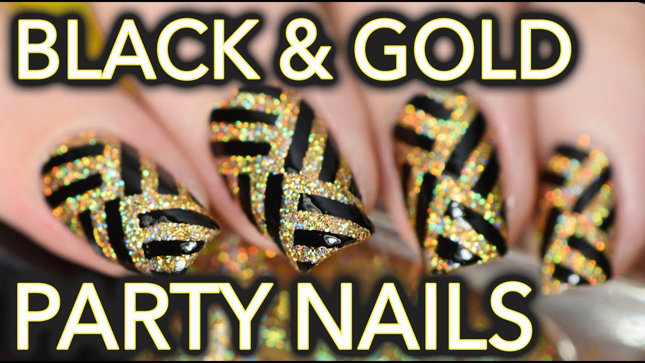 Black & gold fancy party striped nail art thumbnail