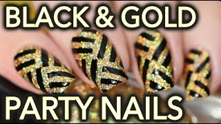 Black & Gold Fancy Party Striped Nail Art