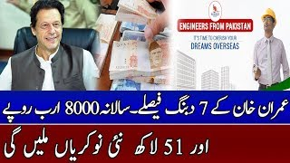 Imran Khan's 7 Good decisions will give 51 Lac Jobs and Rs 8000 Billion to Pakistan