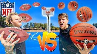 Challenging NFL PLAYER to Trickshot H.O.R.S.E. *Football vs Basketball!*