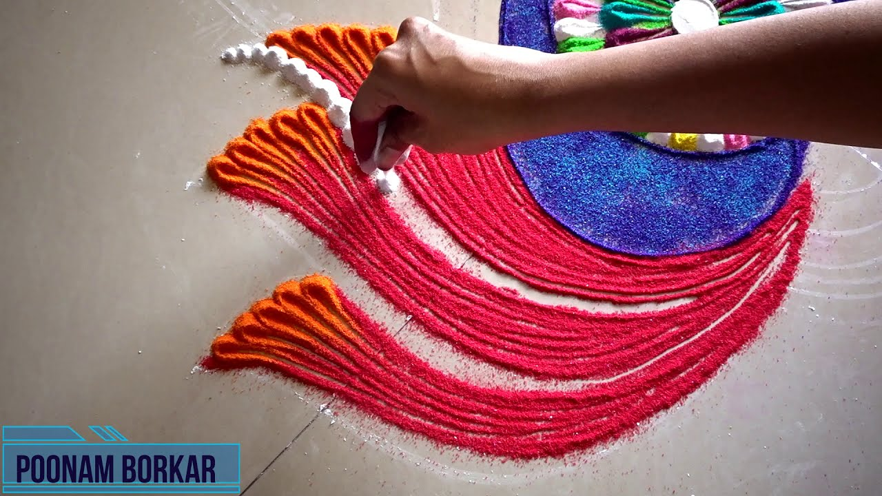 rangoli competition twin peacock design