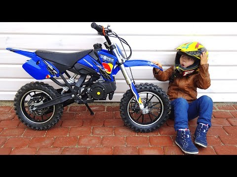 Funny Senya Unboxing And Test Drive The Cross Bike - Ride On Mini BIKE POWER WHEEL Pocket Bike