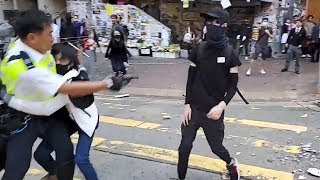 video: Hong Kong police shoot protester as pro-democracy unrest spiralsinto rare working-hours violence
