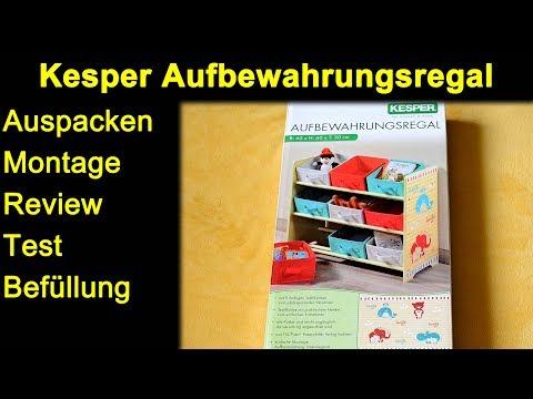 Kesper Aufbewahrungsregal für Kinder / Kinderzimmer mit 3 Ebenen und 9 Stoffboxen