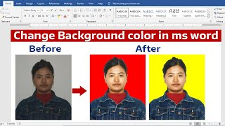Remove Image Background and Change Color in Microsoft Word any Version ||