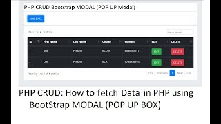PHP CRUD: Bootstrap Modal: Fetch Data from Database in PHP