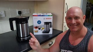 Bosch Kettle with blue LED touch sensitive buttons,unboxing & boil speed test (TWK7203GB)