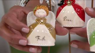 Hallmark Set Of 4 Ceramic Angel Ornaments With Gift Boxes On QVC