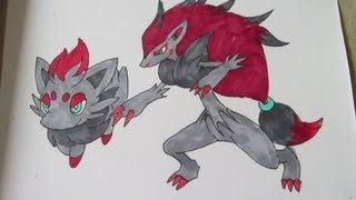 How to draw Pokemon: No.570 Zorua, No.571 Zoroark