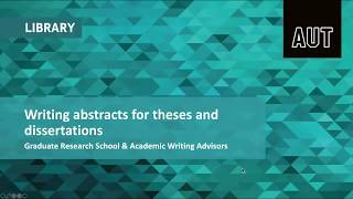 Writing abstracts for theses and dissertations