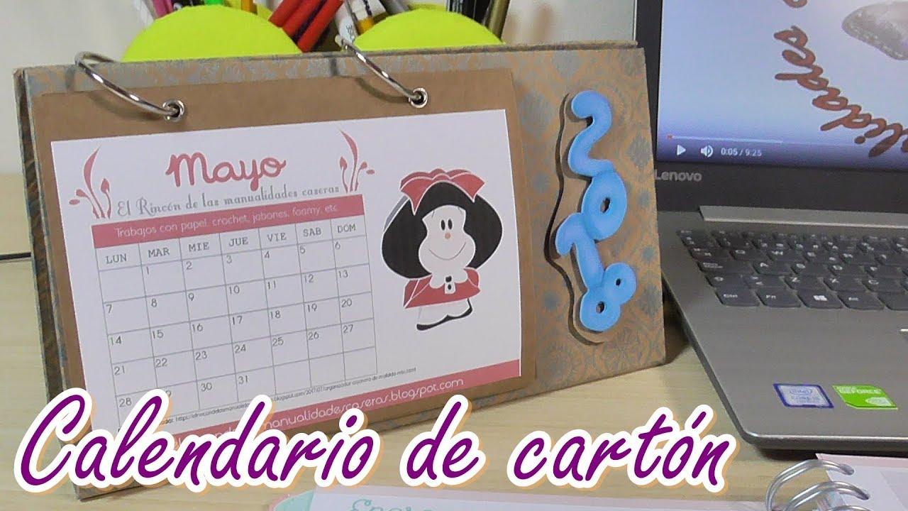 Calendario de mesa hecho con cartón. Almanaque casero DIY
