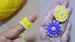 Super Easy Woolen Flower | Flower Craft Ideas Woolen | Hand Embroidery Design | Sewing Hack