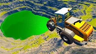 Beamng drive - Leap Of Death Car Jumps & Falls Into Green Slime Pool #3
