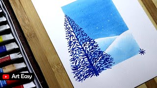 Beautiful Merry Christmas Greeting Card Drawing || Very Easy
