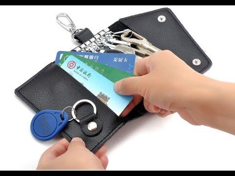 Чехол для ключей/ключница кожаная для 6 ключей и отсеком для кредиток Key Organizer черная (КО-27383) Video #1