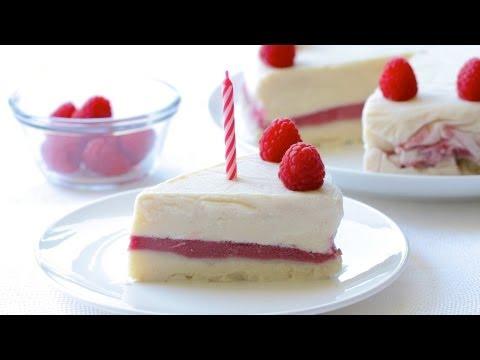 Video Baby Yogurt and Raspberry Ice Cream cake recipe