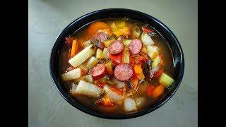 Острый суп с охотничьими колбасками по испански • Готовить просто