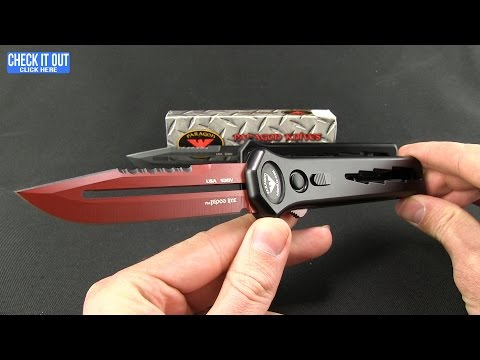 "Asheville Steel Paragon OTF Automatic Knife Red (3.5"" Tanto Serr)"