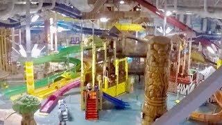 Kalahari In Wisconsin Dells. INDOOR Water Park & Theme Park Tour. Down Water Slides