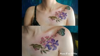 Flower & Butterfly Tattoo On Shoulder Time Lapse