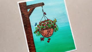 Beautiful Hanging Flowers And Butterflies Acrylic Painting/Easy Acrylic Painting For Beginners /