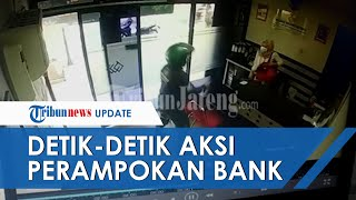 Video Detik-detik Pria Berbaju Loreng  Rampok Teller Sebuah Bank di Wonosobo, Uang Rp100 Juta Raib