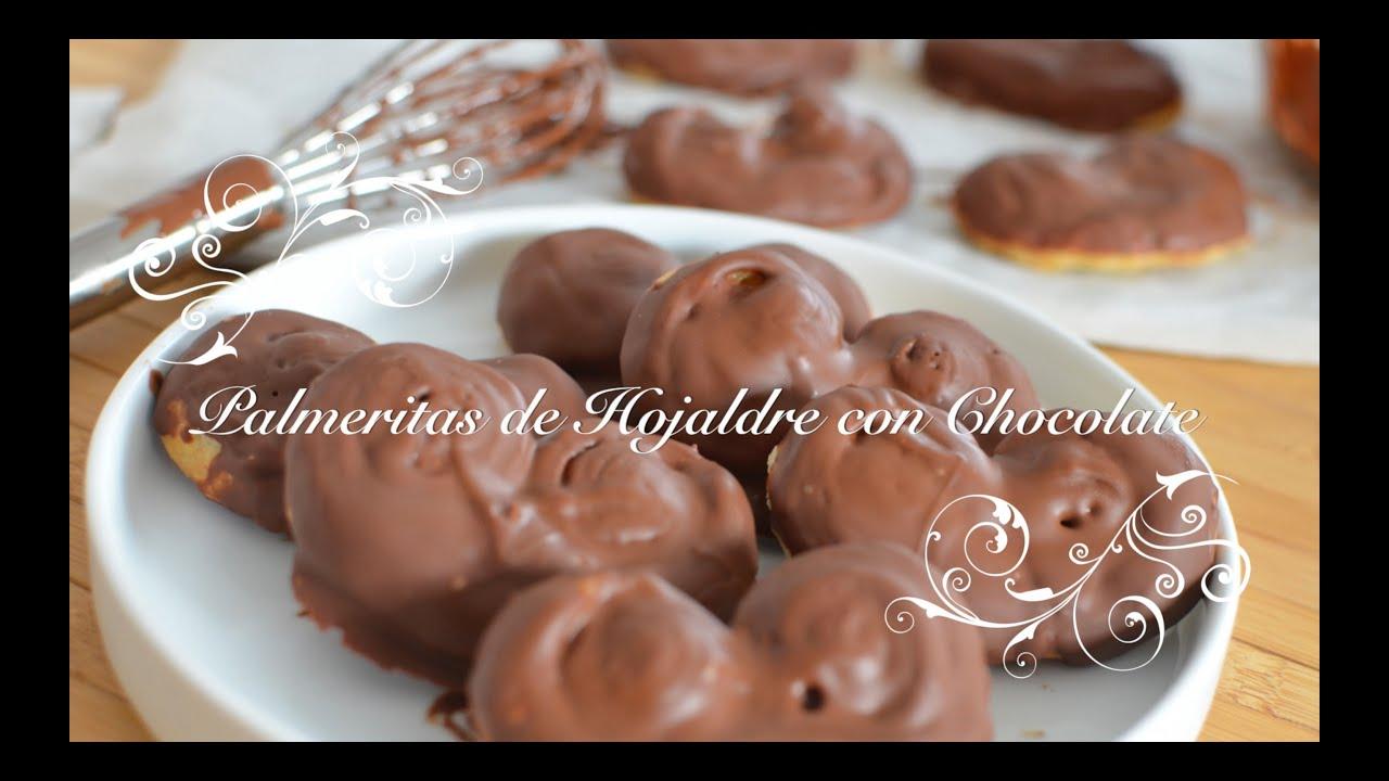 Palmeritas de Hojaldre con Chocolate | Palmeritas de Chocolate | Palmeritas de Hojaldre chefdemicasa