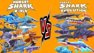 hungry shark world vs hungry shark evolution 2019 - Thủ