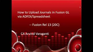 How to upload Journals via ADFDI in Oracle Fusion