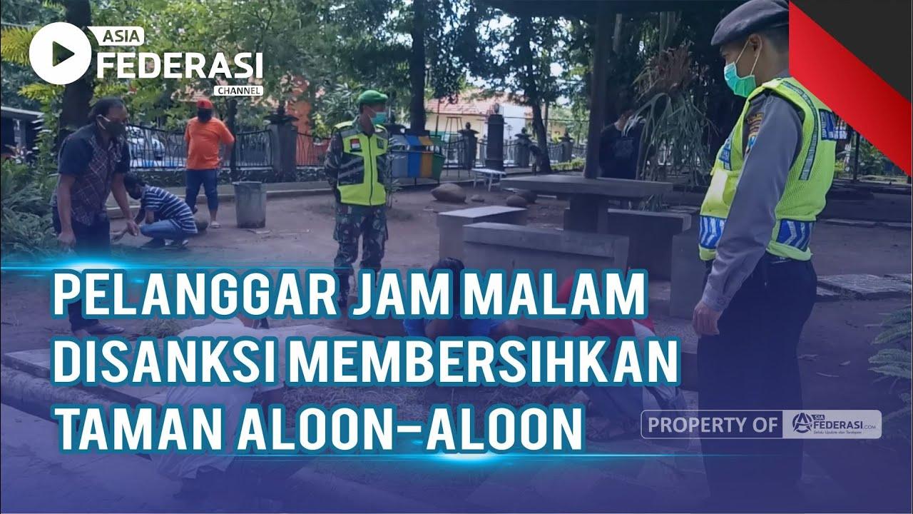 Pelanggar Jam Malam disanksi Membersihkan Taman Aloon-Aloon