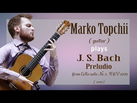 J.S. Bach -- Preludio from Cello suite No.3, BWV 1009, arr. in A major  by J.Duarte