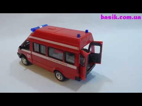 Машинка инерционная Play Smart 1:38 «Пожарная охрана» A071-H11019 Автопарк, свет и звук / Красная