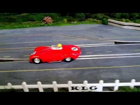 1/32 Wooden Routed Slot Car Track – 1960's theme – Scalextric C60 D TYPE JAGUAR Test Drive