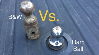 B&W Turnoverball Hitch Install and Ram Ball Comparison 3500