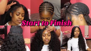 No Leave Out | Lace Closure Sew in | NO glue | Start to Finish | Tinashe Brazilian Loose Deep Hair