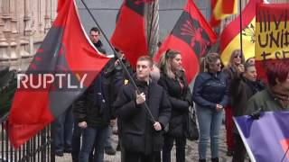 Spain: Falangists defend the monument Cross of the Fallen