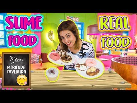 Slime food Vs Real Food Challenge   Haciendo comida de Slime   Making slime food ! 🍩☕