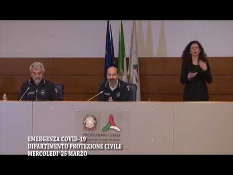 DIPARTIMENTO PROTEZIONE CIVILE MERCOLEDI' 25 MARZO 7503 DECESSI PER IL CORONAVIRUS