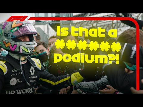 ルノーで初の表彰台を獲得したダニエル・リカルドの喜びの映像。F1 ドイツGP2020