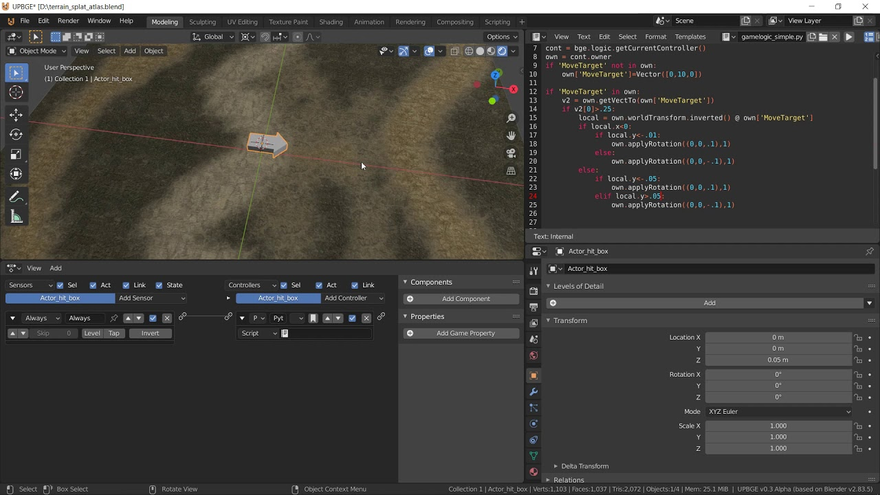 UPBGE - Mouse click to move type actor part 1 - - (hitbox / physics)