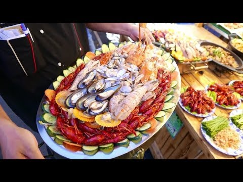 Китайская Уличная Еда - Морепродукты Ночной Рынок Питания Наньнин Китай