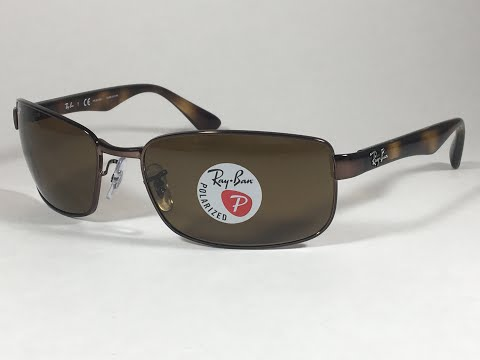 3faf19e0ed7 New Authentic Ray-Ban Polarized Rectangle Sunglasses Brown B-15 Lens RB3478  - YouTube