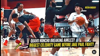 Quavo Huncho & Justin Bieber Get BUCKETS & BREAKS ANKLES BEFORE JAKE PAUL BOXING MATCH!!