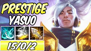 S+ PRESTIGE EDITION TRUE DAMAGE YASUO MID FULL CRIT | Best Build & Runes | League of Legends