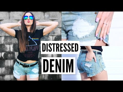 How To Distress Jeans! | DIY Distressed Denim Shorts