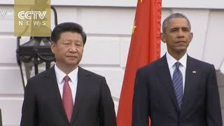 President Xi attends White House ceremony, two national anthems played