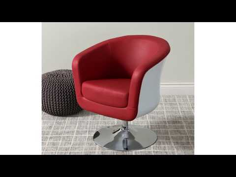 Video for Mod Modern Bonded Leather Tub Chair, Red and White