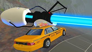 BeamNG.drive - Cars Jumping Vs Giant Portal Gun (Teleporting Cars)