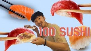 초밥 100개 빨리먹기 도전! (w/먹수)