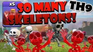 So Many Skeleton Spells! Th9 Skeleton Donut Lavaloon Attack Strategy! Best Th9 Attack Strategies